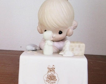 SPRING SALE - Precious Moments My Happiness, Figurine, Little Girl Playing with Her Figurine, Enesco, 1989, C0010, Collectors Club Exclusive