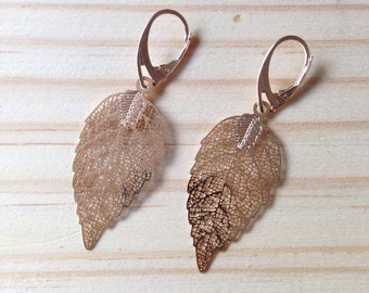 Rose Gold Leaf Earrings: Rose Gold Plated Leaf Bridesmaid Prom Earrings