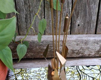 Vintage Brass Cattails Sculpture