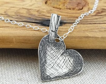 Valentine's Gift · Heart Necklace · Heart Clothespin Necklace · Love Necklace · Heart Jewelry