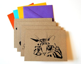 Cat Card Set, Blank Cards, Chill Cats, Tabby Cats