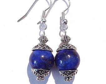 Blue Lapis Lazuli Gemstone Earrings