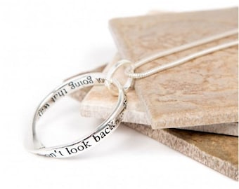 Look Back Message slogan necklace perfect gift (Don't look back...... as you're not going that way...)-Message Necklace