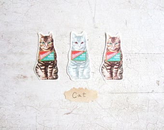 Gift Tags, Vintage Advertisement Cats Christmas Tags, Table Confetti, St or Lot of 12