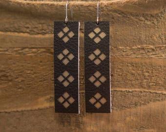 Black/Gold Leather Bar Earrings