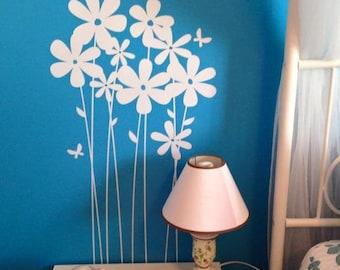 Vinyl daisies / vinyl wall flowers / flower wall decal / butterfly wall decal / tall daisies VINYL wall decal / girls room flowers