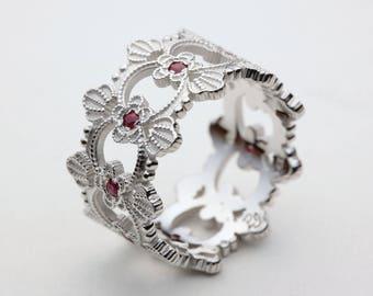 Ruby Wedding Band, Ruby Wedding Ring, White Gold Ruby Ring, Gold Ruby Ring, Red Ruby Ring, Unique Wedding Band, Ruby Engagement Ring, Ruby