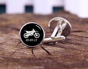Motorcycle Cufflinks, Custom Initial Or Date, Motorbike Cufflinks, Motocross Cufflinks, Dirt Bike, Wedding Cufflinks, Groom Cufflinks, Gifts