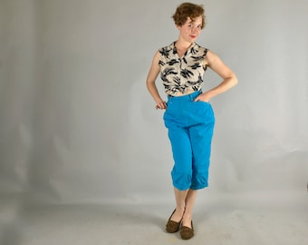 Vintage 1950s Pants | 50s Sky Blue Clam Diggers with White Seam Stitching Trim Denim Pedal Pushers Capris | Small