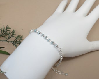Blue Topaz Bracelet, December Birthstone, Blue Gemstone Bracelet In Sterling Silver, Semiprecious Bracelet, 6.75-8.25 Inches Length