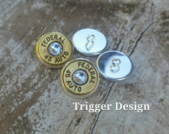 Set of 4 - 45ACP Bullet Buttons -Crystal
