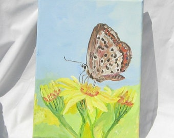 "Art, Painting, Acrylic Painting, 9x12 inches, Wrapped Canvas, Nature, ""Just A Moth"""