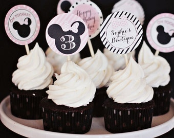 Minnie Mouse Party Circles, Cupcake Toppers  - Printable