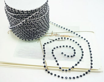Silver Rhinestone Chain, Jet Black Crystal (4mm / 1 Foot Qty)