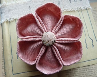 Pink fabric with button kanzashi flower brooch vintage fabric - gift