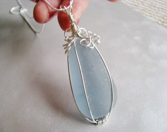 Large Sea Glass Pendant-Rare Soft Grey Blue-Beach Glass Pendant- Beach Glass Jewelry-Ocean Jewelry Pendant Necklace Gift- Authentic Seaglass
