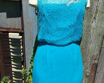 Pretty turquoise late 50's early 60's  designer wiggle dress bombshell viva 1950's 1960's beaded glass beads