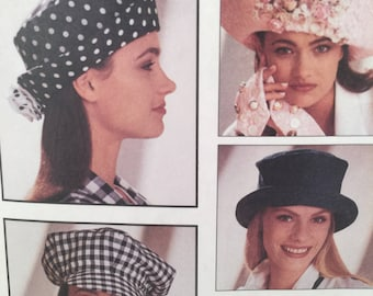 1990s Hat Sewing Pattern, McCall's Crafts 6077,The Mad Hatter, Millinery Hats,Brim Hat, Baseball Cap, 10 Styles, Women's Hats, Fabric Flower