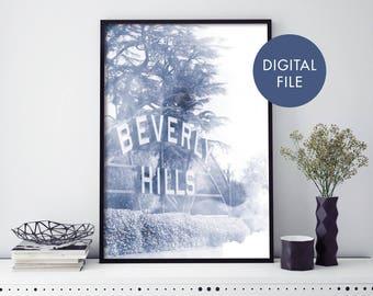 Beverly Hills, Los Angeles LA Watercolour Print Wall Art   Print At Home   Digital Download File