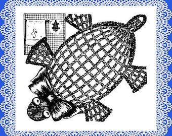 Crochet soap holders Set of 3 patterns - Alligator, Fish and Turtle PDF Vintage 1940s and 50s