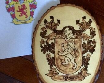 Family Crest Wood Burned Image
