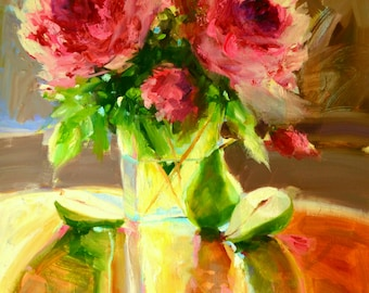 Still life art print,PEARS AND PEONIES, oil on canvas, impressionistic art