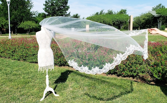 Chapel Veil with Pencil edge trim transitions to lace | wedding veil, cathedral veil, ivory color, classical veil, traditional veil, royal