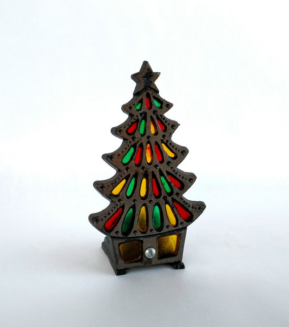 Vintage 1960's Stained Glass and Wrought Iron Christmas Tree Candle Holder