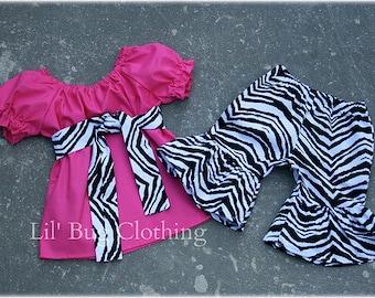 Custom Boutique Pink zebra peasant short set size 3m 6m 9m 12m  18 24 2t 3t 4t 5t 6 7 8 girl