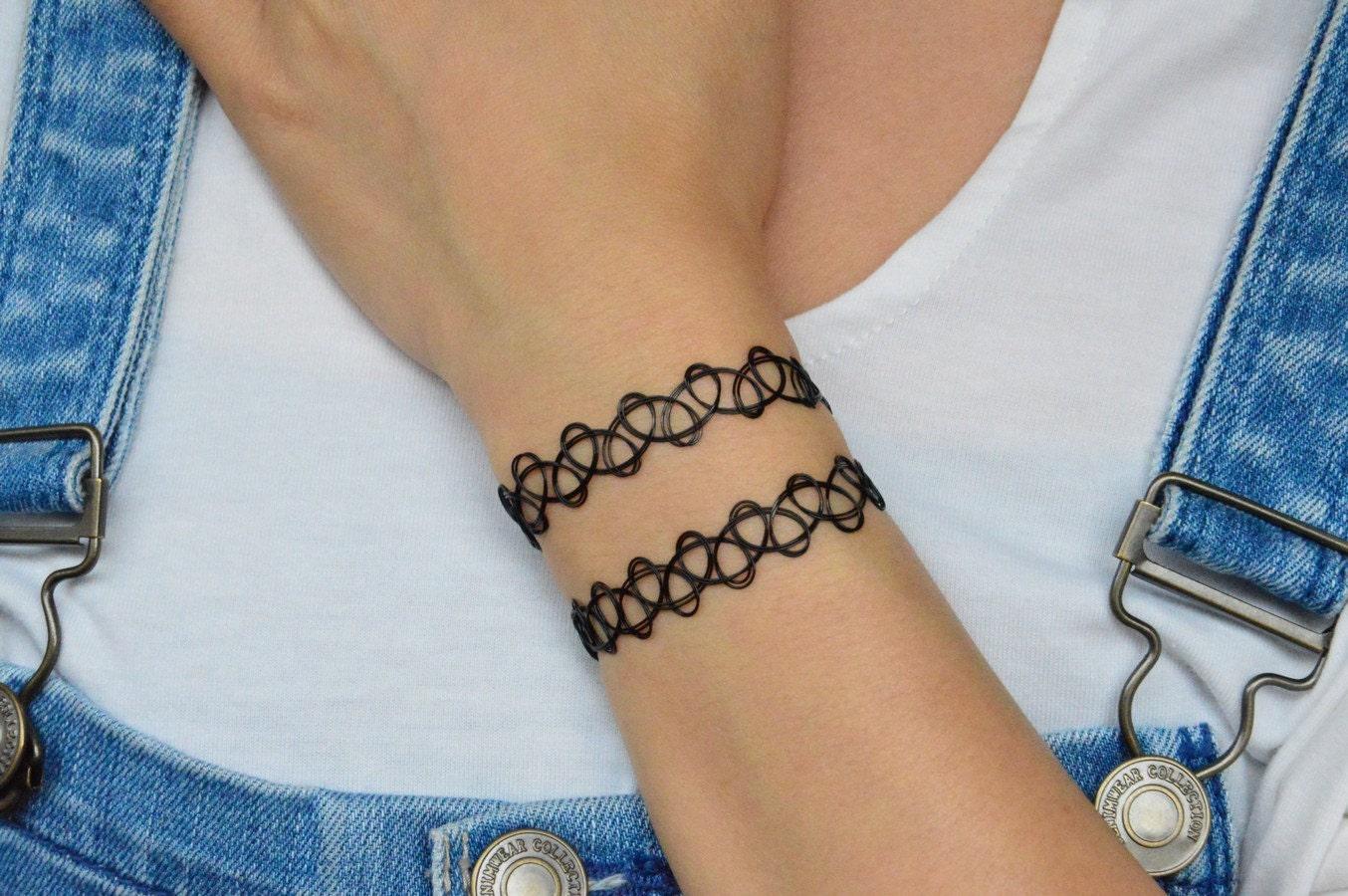 Top Bracciale Vintage doppio tatuaggio nero DL56