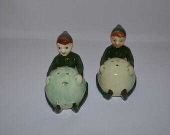 Pixie, Fairy, Elf Vintage Salt & Pepper Shakers - Japan - 1950's - Kitchen Decor, Cooking