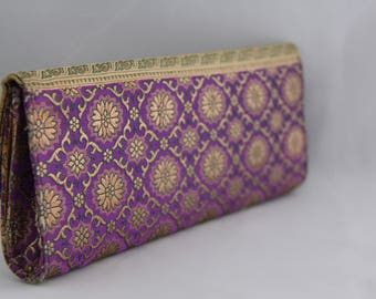 Purple/Gold Clutch with Brocade Floral Design