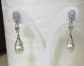 Pearl Earrings, Dangle pearl earrings, pearl drop earrings, freshwater pearl earring 925 Sterling Silver 9-10mm