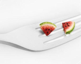 Watermelon Earrings, Fruit Studs, Watermelon Post Earrings, Polymer Clay Food, Fruit Earrings, Foodie gift,Summer Earrings,Melon Studs