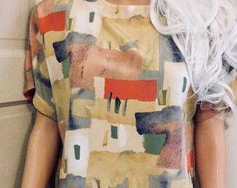 Abstract Multi-Colored Boxy Blouse | Padded-Shoulders