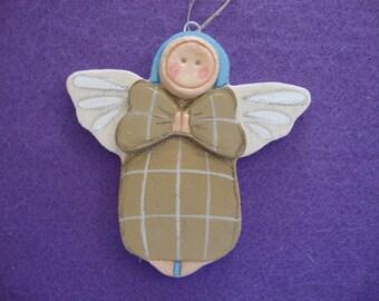 Cute Button face Angelic Angel Salt Dough Ornament Handmade Hand Painted Designed by Cookiecuttercuties