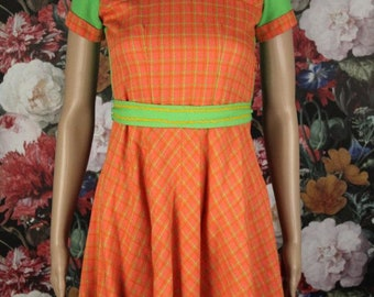 Mod 60's vintage mini dress orange green checkered Small EU 34-36