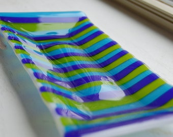 Green/Blue Striped Fused Glass Dish/Plate