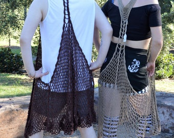 Hand Crochet Long Vest Chocolate Brown. Hippy Doof Boho. Free Size