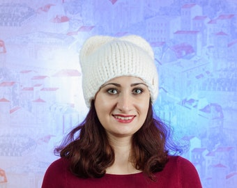 Hat with pom pom - Hand knitten hat - a cap of manual binding - winter hat - white hat - hat for women- hat with pom pom for girls