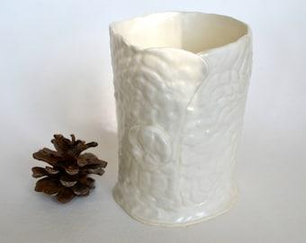 White on White Ceramic Vase ~ Small White Vase ~ White Pottery Vase ~ White Utensil Crock ~ White Utensil Holder ~ White Utensil Pen Holder