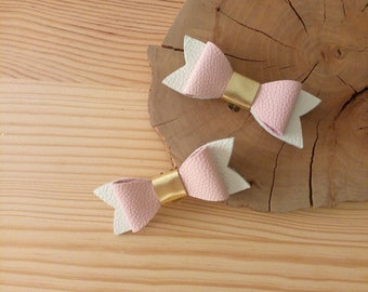 Powder Pink, white and gold leather bow shoe clips