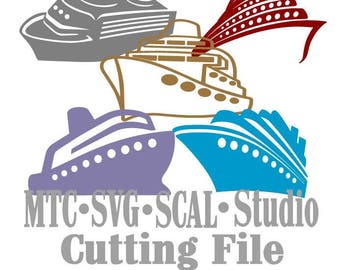 SVG Cruise Ship Cut File Set #03 Bundle of 5 MTC SCAL Cricut Silhouette Cutting Files