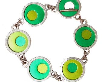 Two Tone Silver/recycled aluminum lime/green bracelet