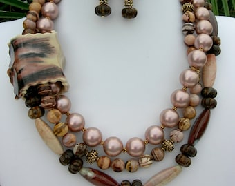 VERY UNUSUAL Pearl Necklace, Pink Pearls, Taupe & Brown Beads in a Ceramic Tube, Multi-Strand Statement Necklace Set by SandraDesigns