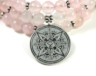 WILD HEART Rose Quartz Healing Gemstone Mandala Bracelet