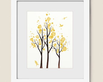 8 x 10 Canary Yellow Home Decor, Tree Wall Art Print Living Room Decor (318)