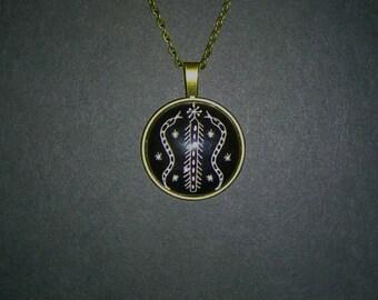 Beautiful Damballah Danbala God Wedo Veve Vodou Voodoo Snake Pendant Necklace.