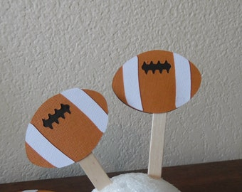Football Party- Football Cupcake Toppers - Football Birthday-Football Tailgate Party Toppers