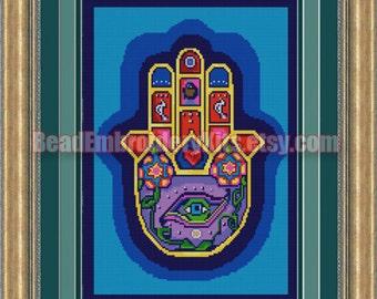 Hamsa the Hand of God DIY bead embroidery kit beaded painting Beadwork Needlework Needlepoint Beadpoint Sewing craft set